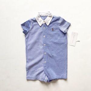 Ralph Lauren NWT blue/White stripe romper 6 months